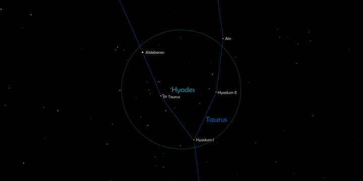 Hyades with constellation lines